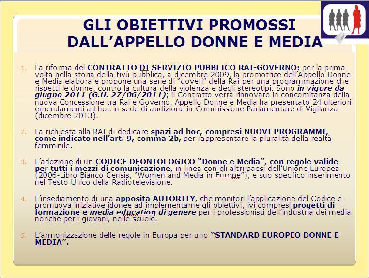 Obiettivi Appello Donne e Media